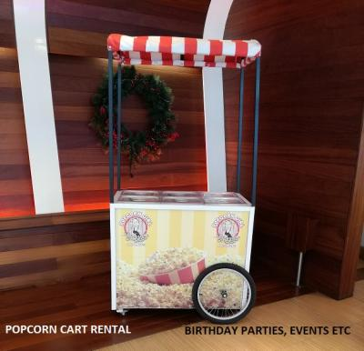 Birthday party with popcorn cart